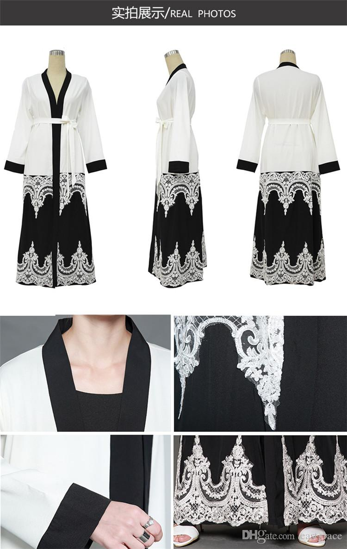 New Style Women Muslim Dresses PatchWork Design Lace Floral Coat Cardigan Leisure Long Maxi Dresses Dubai Muslim Prom Dresses