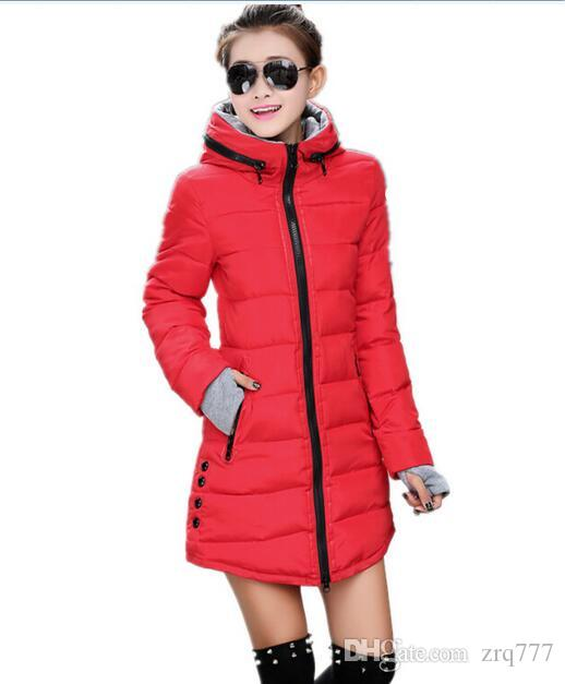 Women`s Jacket Winter 2016 New Medium-Long Down Cotton Parka Plus Size Coat Slim Female gloves Ladies Casual Clothing Hot Sale