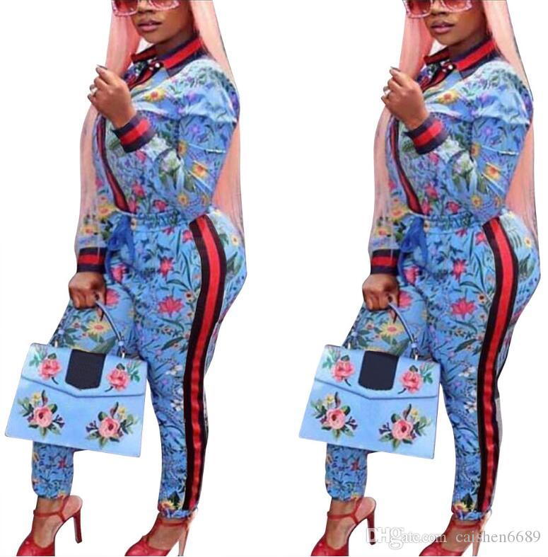 Spring set women Tops + pants 2018 Casual Sets Long Sleeve Floral Print Tracksuits Fashion Women Outfit sets