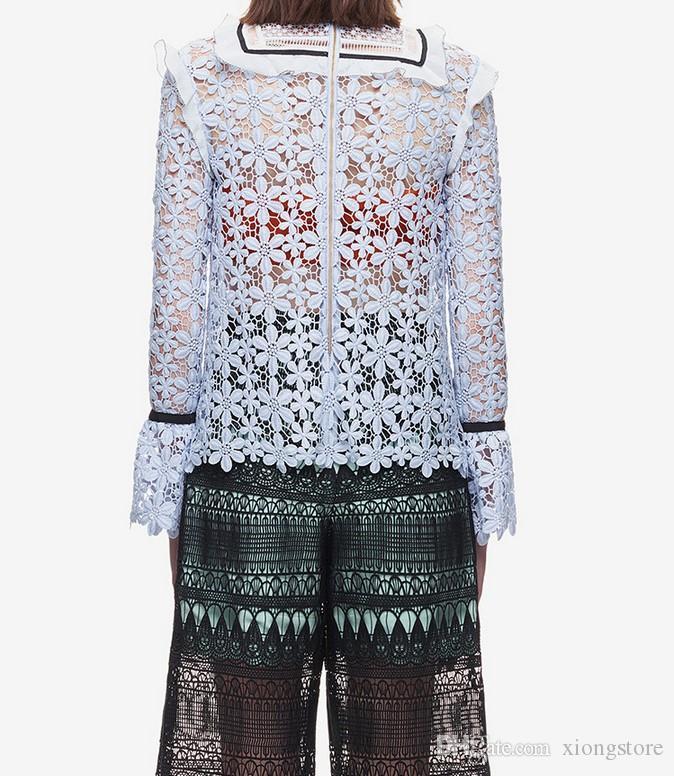 New High Quality Self Portrait Lace Crochet Runway Tops Women blouses 2019 Fashion Long Sleeve White Ruffles Shirt Blouses camisetas blue