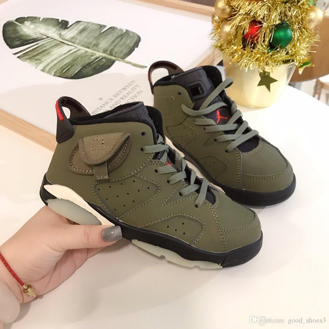 2020 6 6s Kids Basketball Shoes Army
