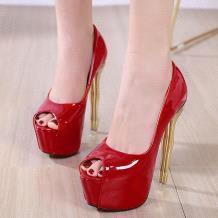 red PU peep toe