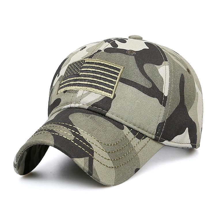 US Military Cap American Flag Mesh Hat Embroidered Tactical Camouflage Army Navy
