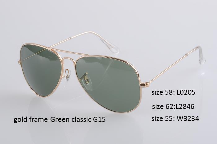 Lente G15 dourada com moldura verde