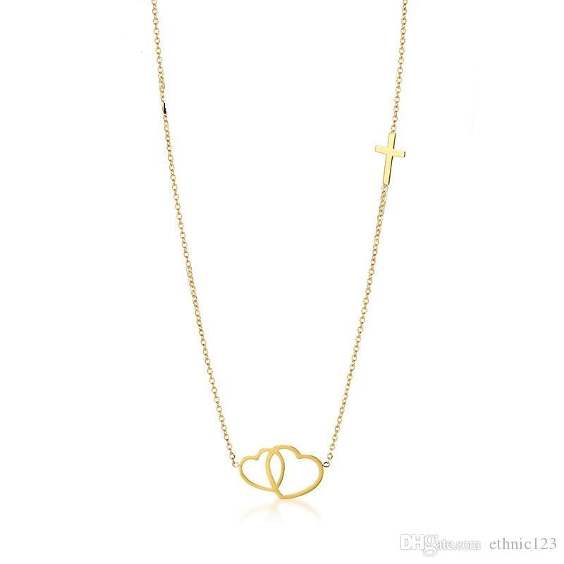 Stainless Steel Women Link Chain Necklace Cross Heart Jewelry Bracelet Supplies