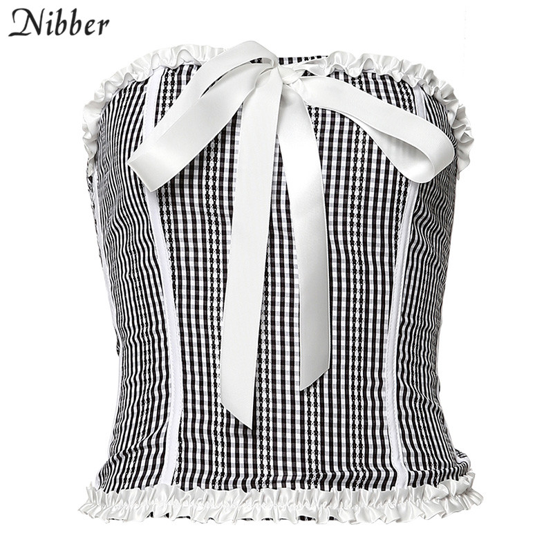 2021 Nibber Autumn Harajuku Pink Strapless Bow Slim Tube Top Women Short Camisole 2020 Vintage Plaid Elegant Bodycon Vest Tees Mujer From Kepiwell8 37 1 Dhgate Com