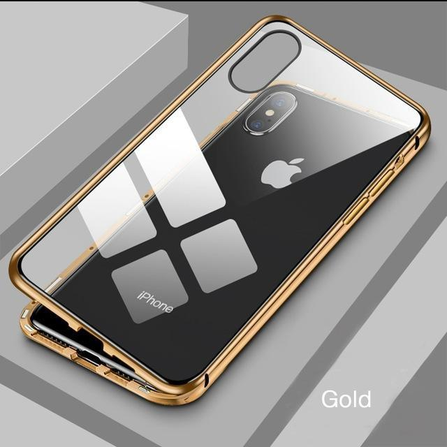 Luxury Front +Back 360 Magnetic Adsorption Metal Glass Case For