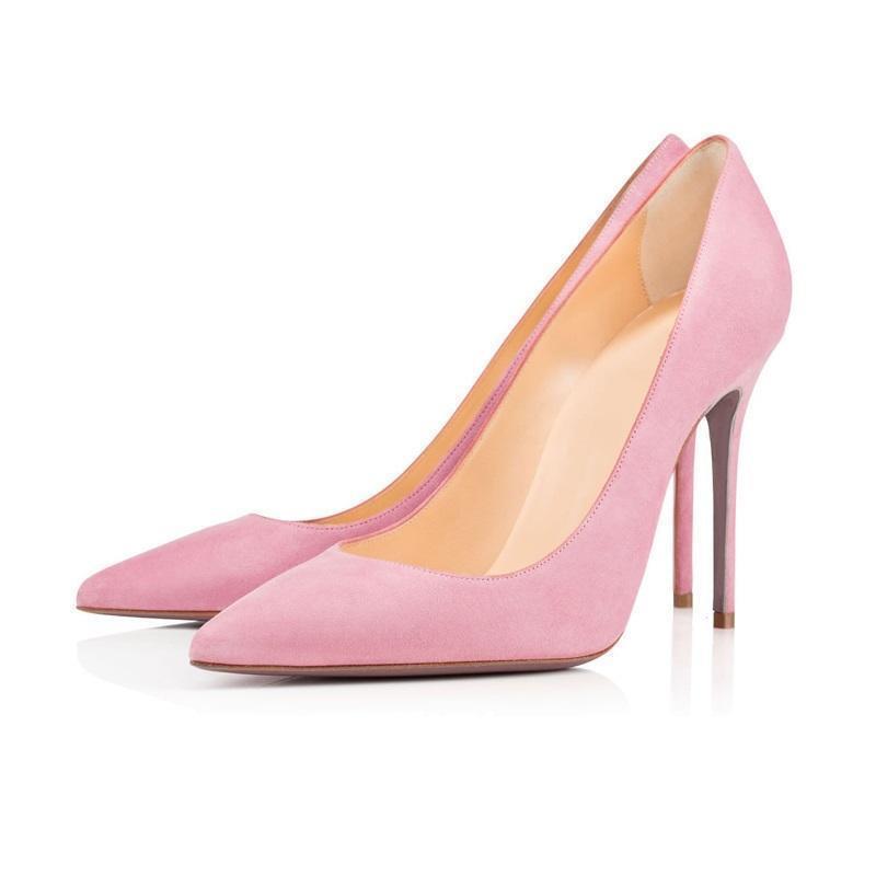 Scarpe a punta in pelle scamosciata rosa