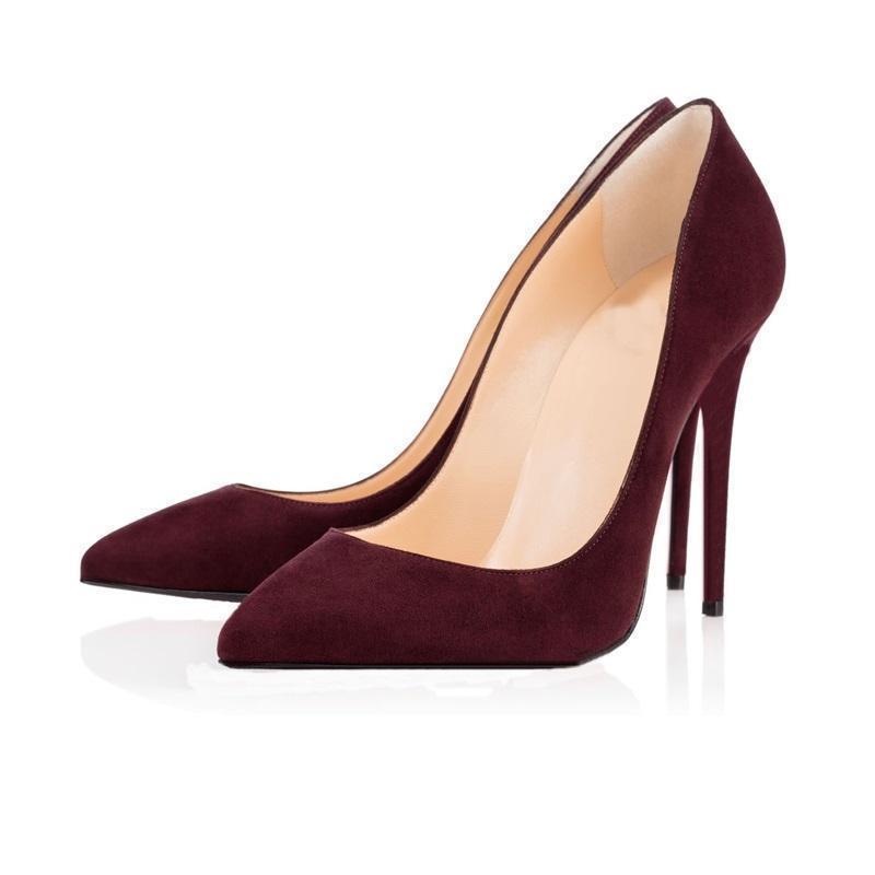Scarpe a punta in pelle scamosciata vino rosso