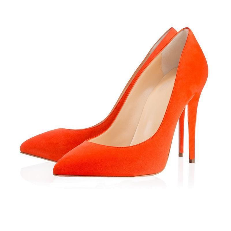Scarpe a punta in pelle scamosciata arancione