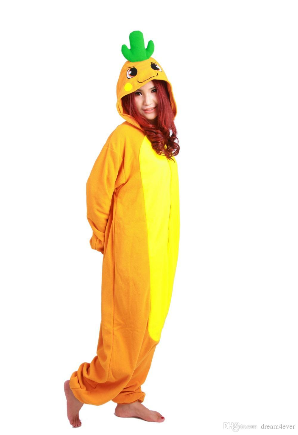 SS Winter long sleeve Yellow orange Anime Onesie Sleepwear Cosplay Carrot Costume Pajamas Adult Pyjamas Party