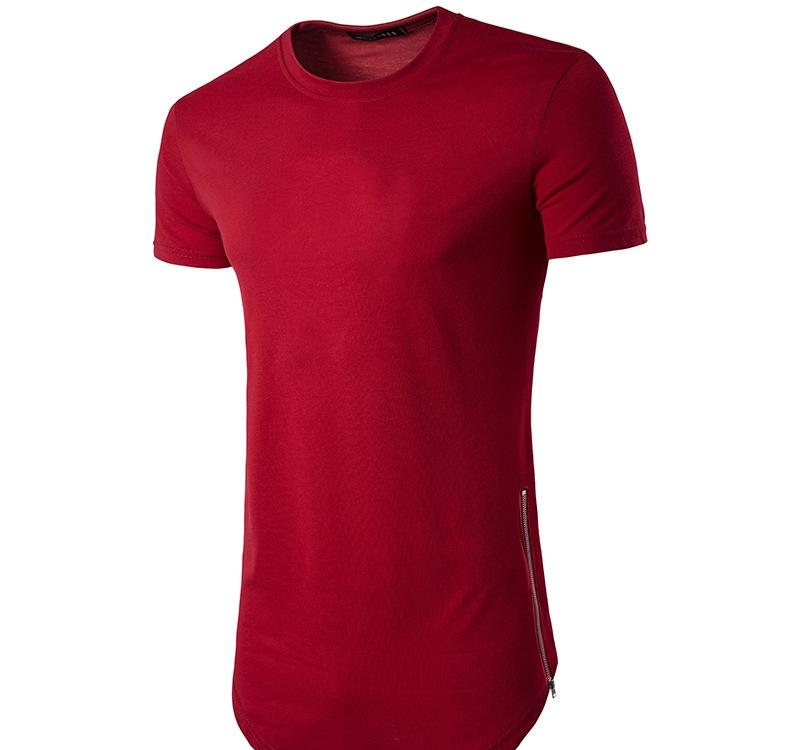 New Trends Men T shirts Super Longline Long Sleeve T-Shirt Hip Hop Arc hem With Curve Hem Side Zip Tops tee