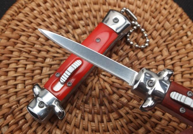 Red wooden handle