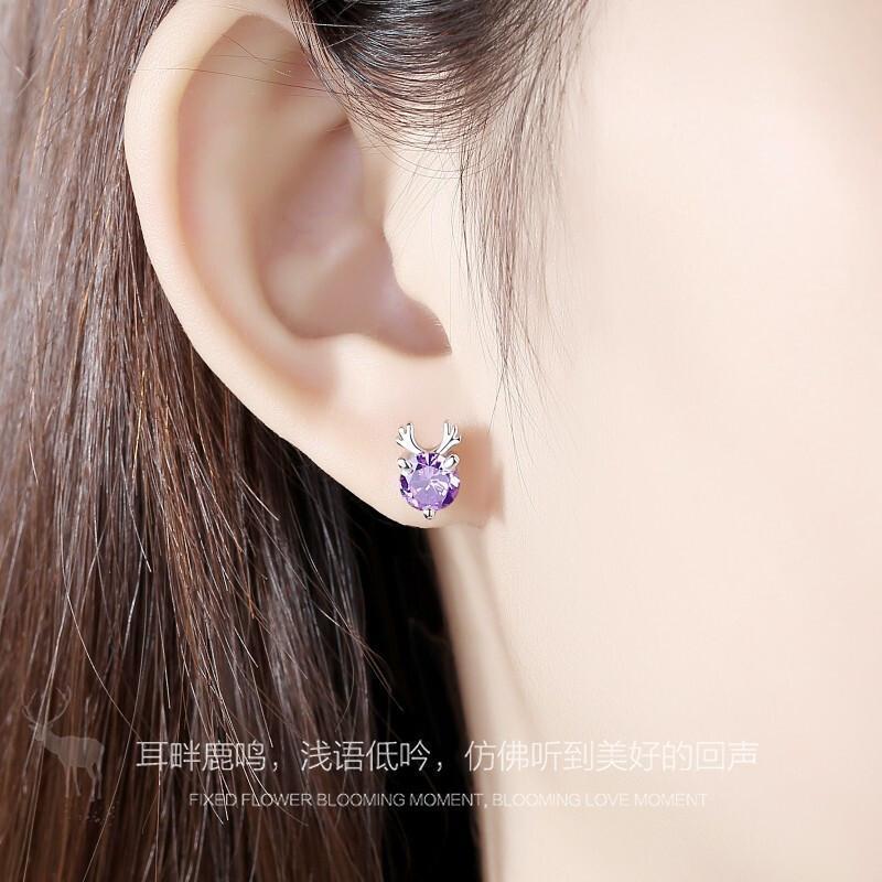 Yilu Tem seus brincos-Roxo Diamante