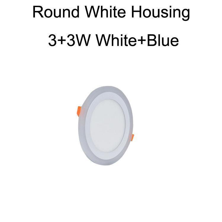 جولة الأبيض الإسكان 3 + 3W الأبيض + الأزرق