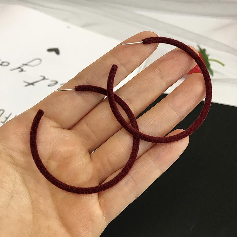 Bague en velours Boucles d'oreilles Vin rouge 5cm 925 Si