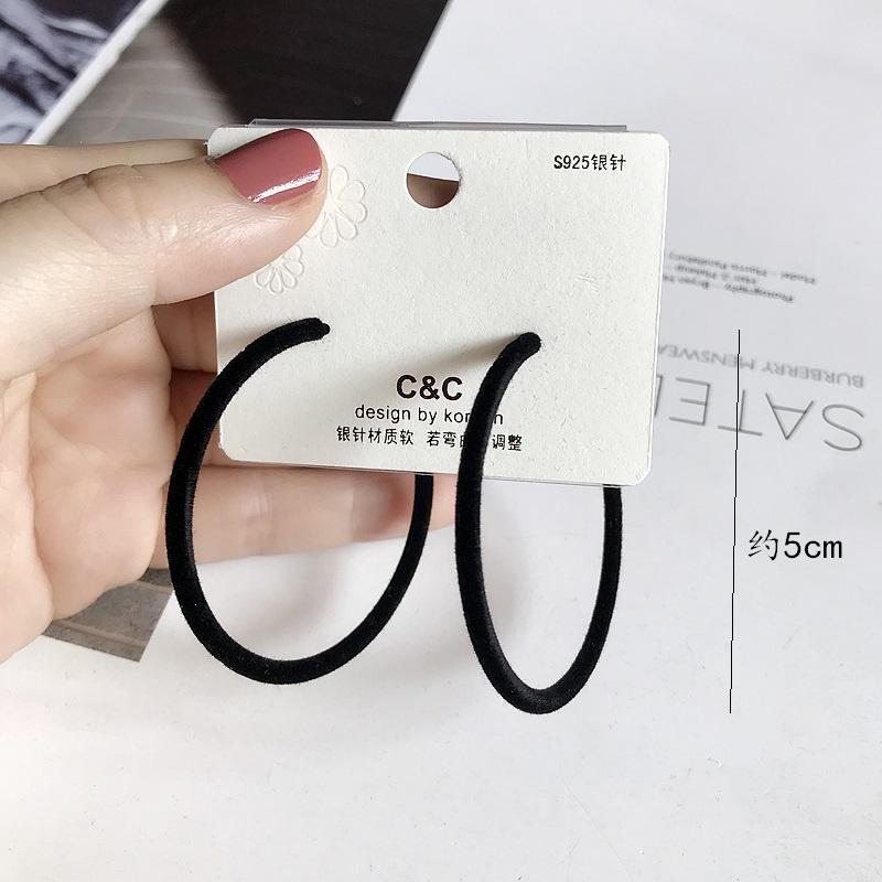Bague en velours Boucles d'oreilles Noir 5cm 925 Silve