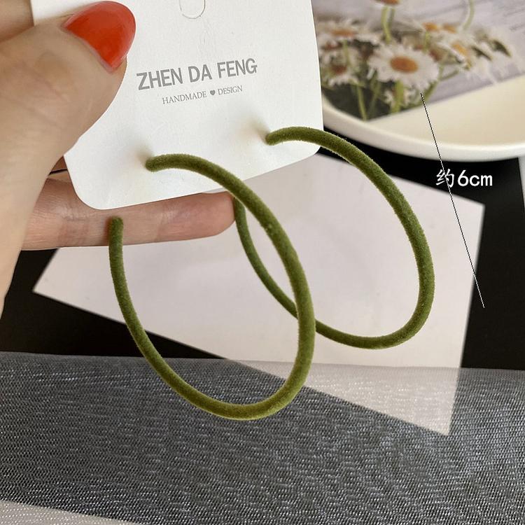 Bague en velours Boucles d'oreilles Couleur Vert 6cm 925