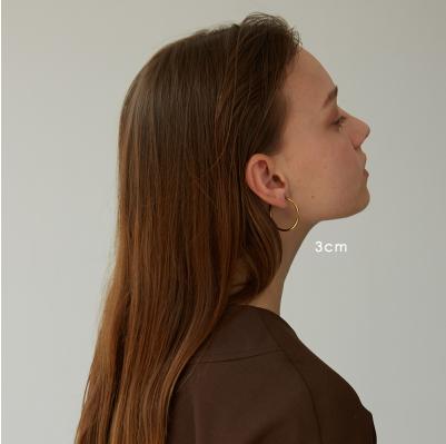 A Pair of 3cm Golden Titanium Steel Ear