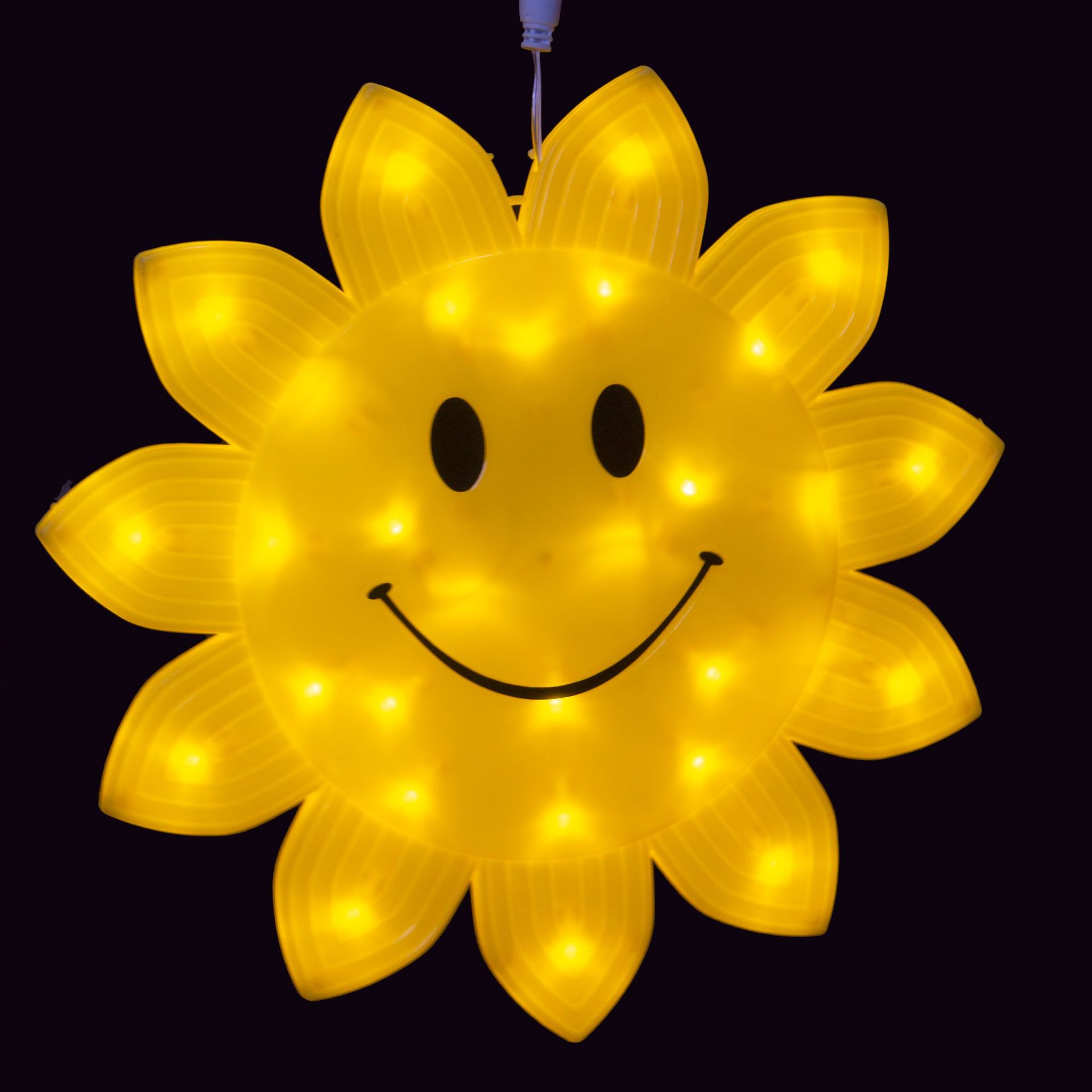 Amarelo Luz LED de Sorrindo 33 centímetros Rosto