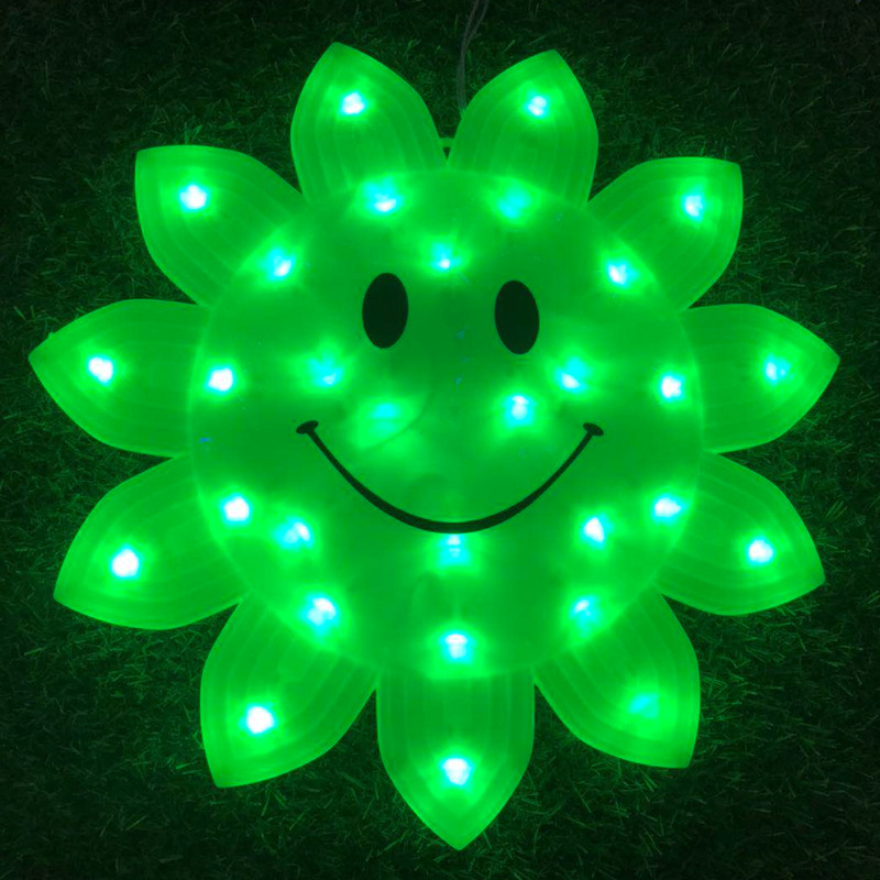 Verde Led Light of Smiling 33 centímetros Rosto
