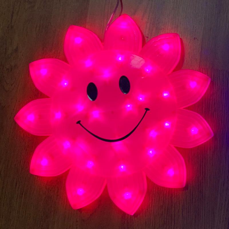 Rosa Luz LED de 33 centímetros rosto sorridente