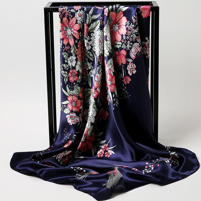 90 bufanda cuadrada-azul marino