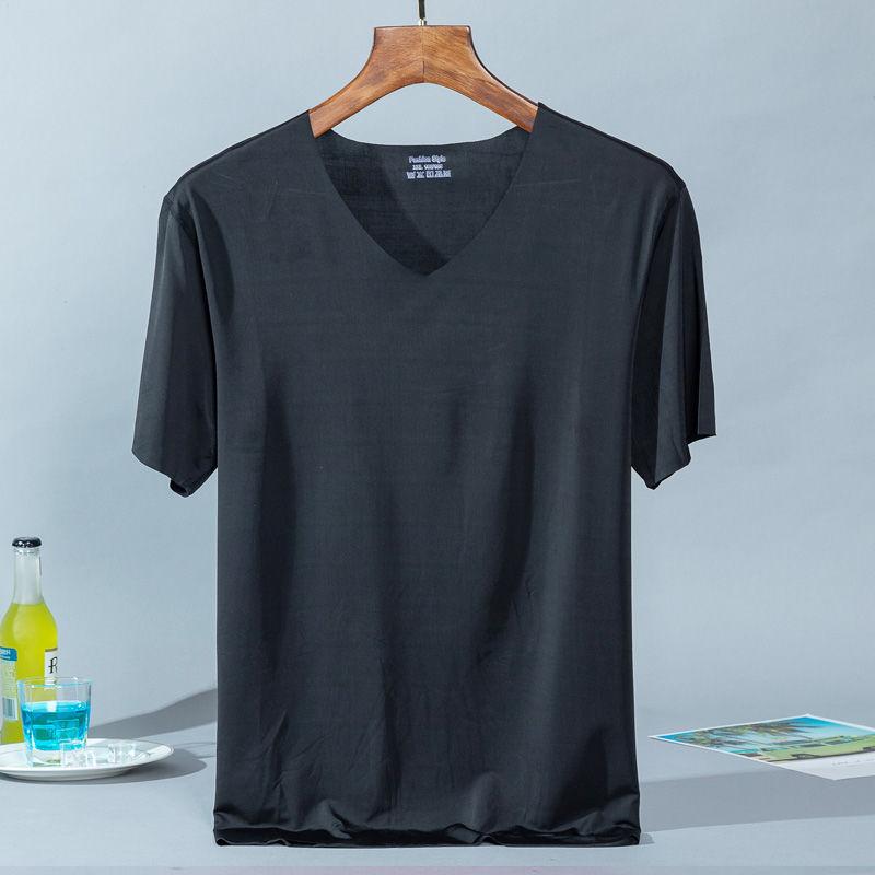 검은 얼음 실크 티셔츠 - 블랙