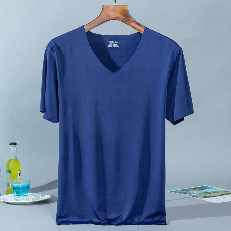 해군 푸른 얼음 실크 티셔츠 - 해군 파란색