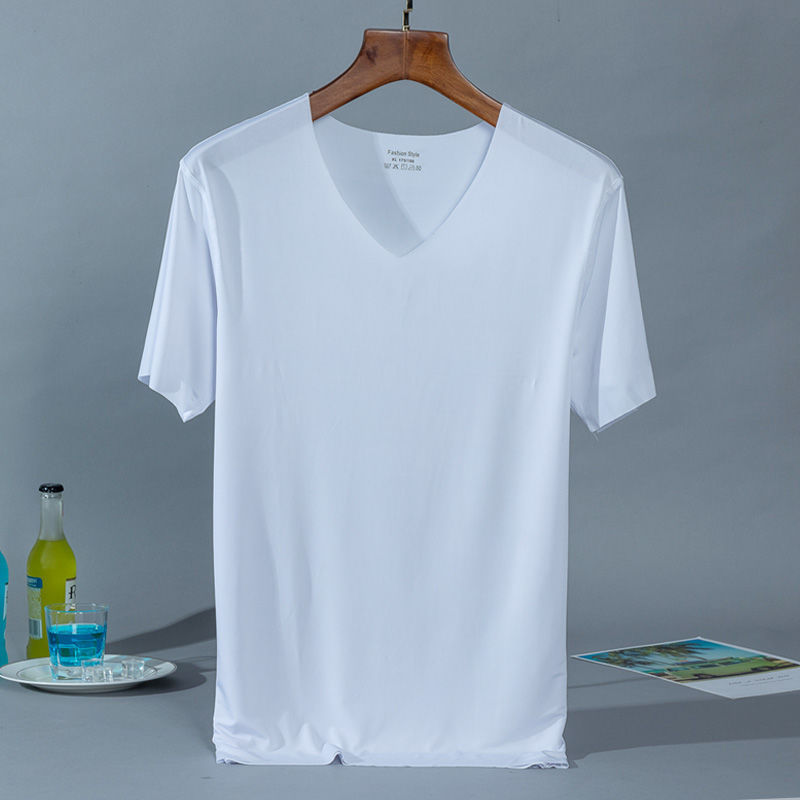 흰색 얼음 실크 티셔츠 - 화이트