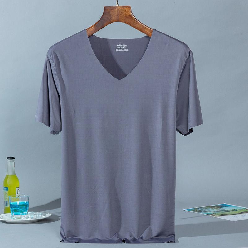 밝은 회색 얼음 실크 티셔츠 - 그레이