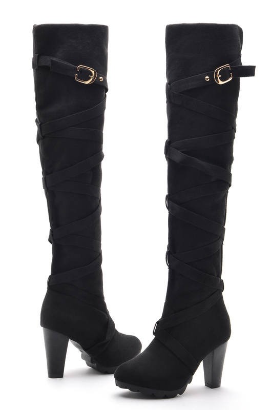 Womens Fashion Over Knee Boots High Heels Lady Suede