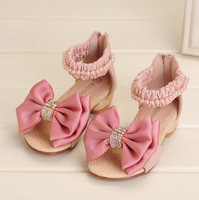 Girls Big Bowknot Sandals Kids Pu Ankle Wra Shoe Girl Shoe ...