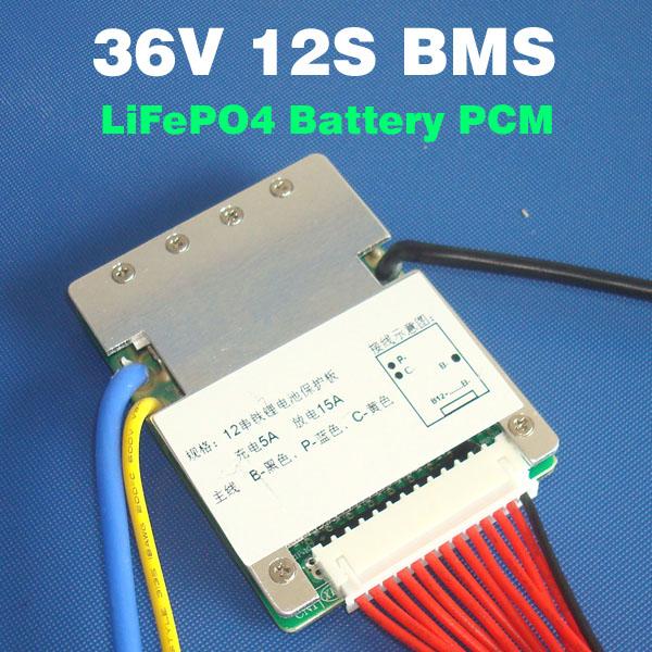 36v 12s 15a LiFePO4 bms