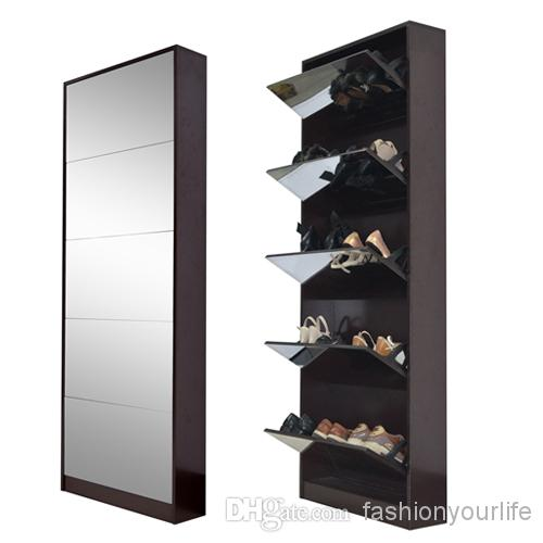 Wood Mirrored Shoe Cabinet Shoe Rack With 5 Layers Shoes
