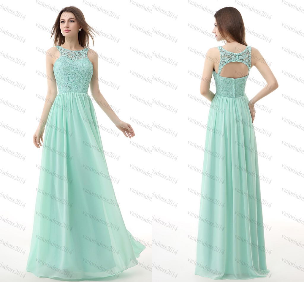 2015 Cheap Prom Dresses Under 80 Long Mint Green Chiffon