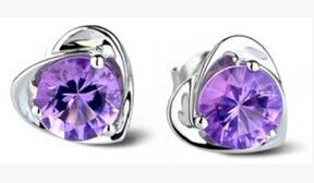 Lila Diamanten Doppel-Herz