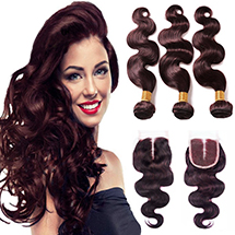 Human Hair Wefts with Closure
