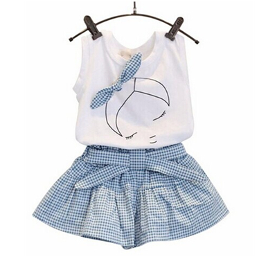 Girls'Grid Shorts Sets