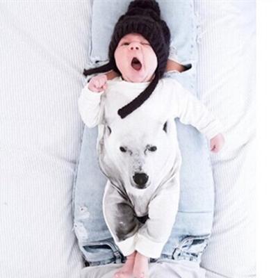 Newborn Infant Bear Print Rompers