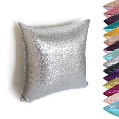 Sequin & Comfy Satin Solid Throw Pillow Covers