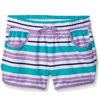 Girl's Purple and Green Striped Knit Short