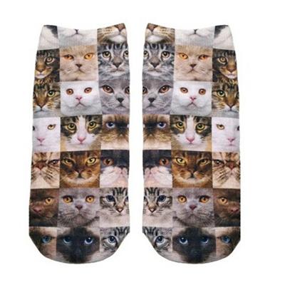Cat Faces Ankle Socks