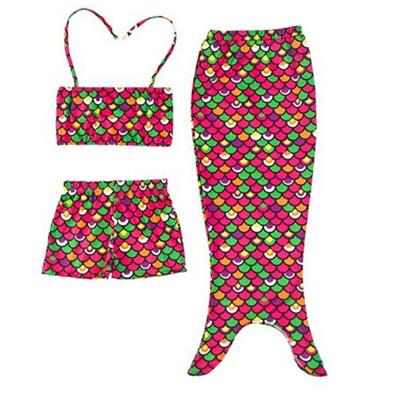 Girls 3 Pcs Mermaid Tail Swimwear