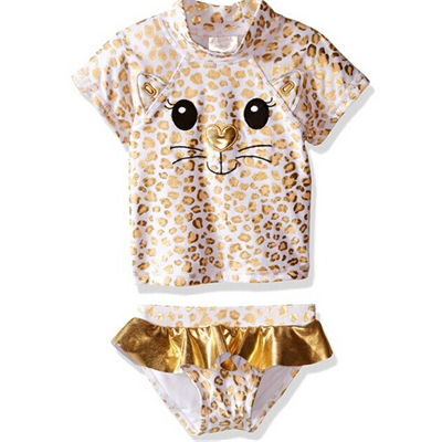 Girls' Gold Kitty Rash Guard Set