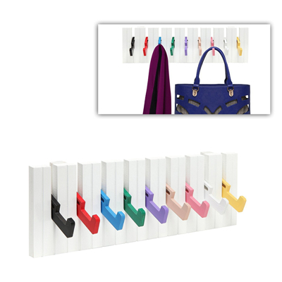 Multicolor Piano Design Wood Wall Mounted Coat Hanger