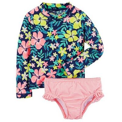 Girls Blue Floral 2pc Rashguard Swim Set