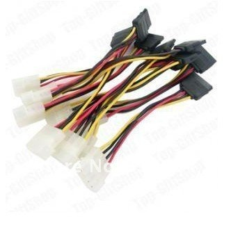 Free shipping 100pcs IDE to Serial ATA SATA HDD Power Adapter Cable 4pin