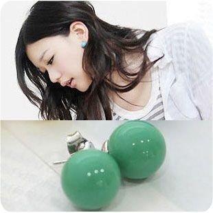 2011 New Fashion Candy Colors Cute QQ Ball Earrings Bead Sweet Ear Studs Earring Women's Brand New 30pair/lot