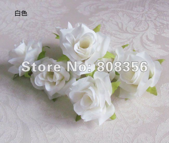 Hot 100pcs White Artificial Silk Simulation Camellia Rose Peony with Leaves Home Decorative Flower Head Wedding Christmas 5.5cm